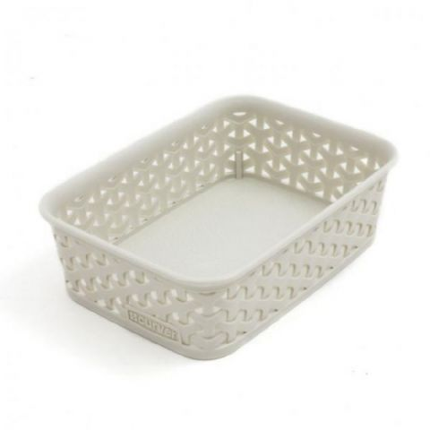 Curver Vintage White Rattan Tray A6